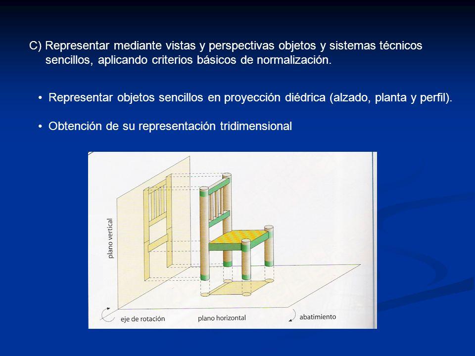 C) Representar mediante vistas y perspectivas objetos y sistemas técnicos
