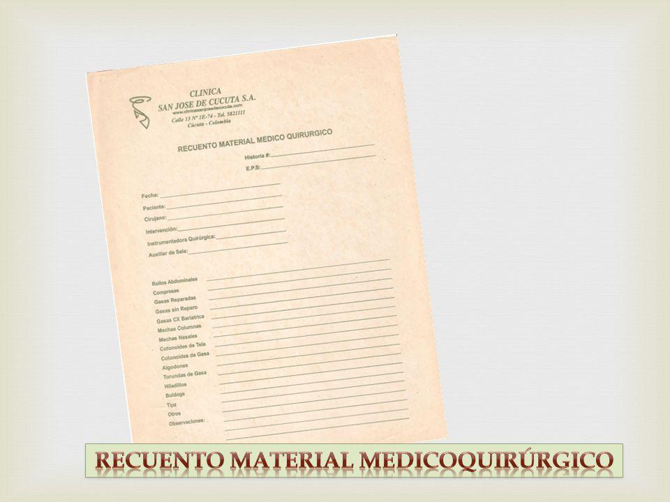 RECUENTO MATERIAL MEDICOQUIRÚRGICO