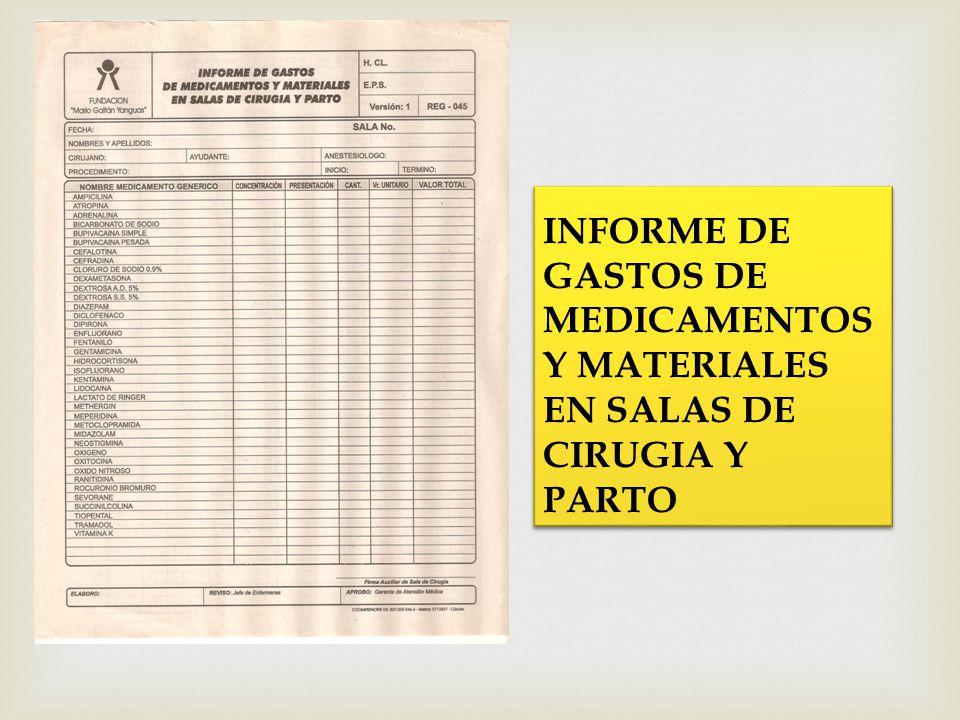 INFORME DE GASTOS DE MEDICAMENTOS Y MATERIALES EN SALAS DE CIRUGIA Y PARTO