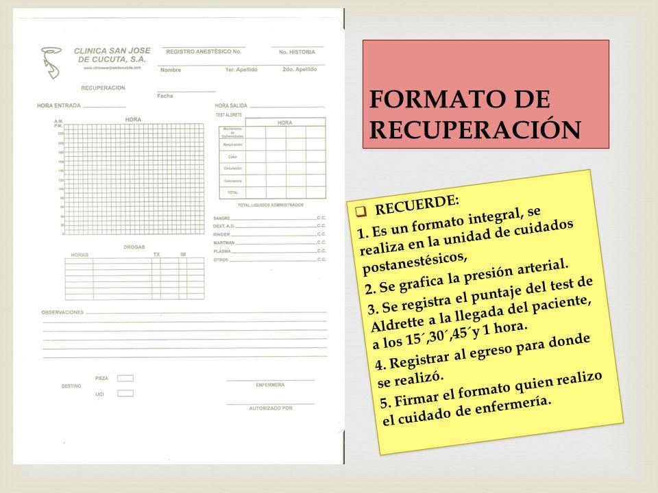 FORMATO DE RECUPERACIÓN