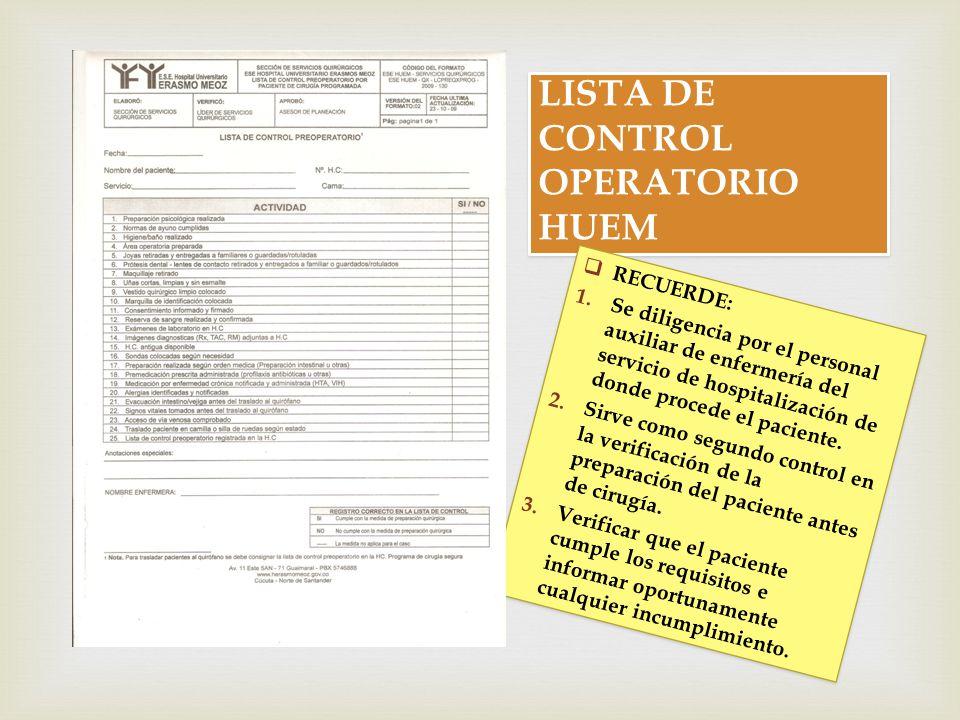 LISTA DE CONTROL OPERATORIO HUEM