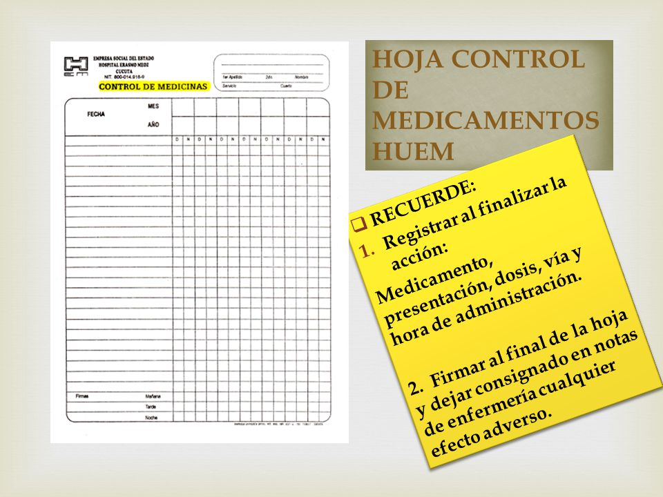 HOJA CONTROL DE MEDICAMENTOS HUEM