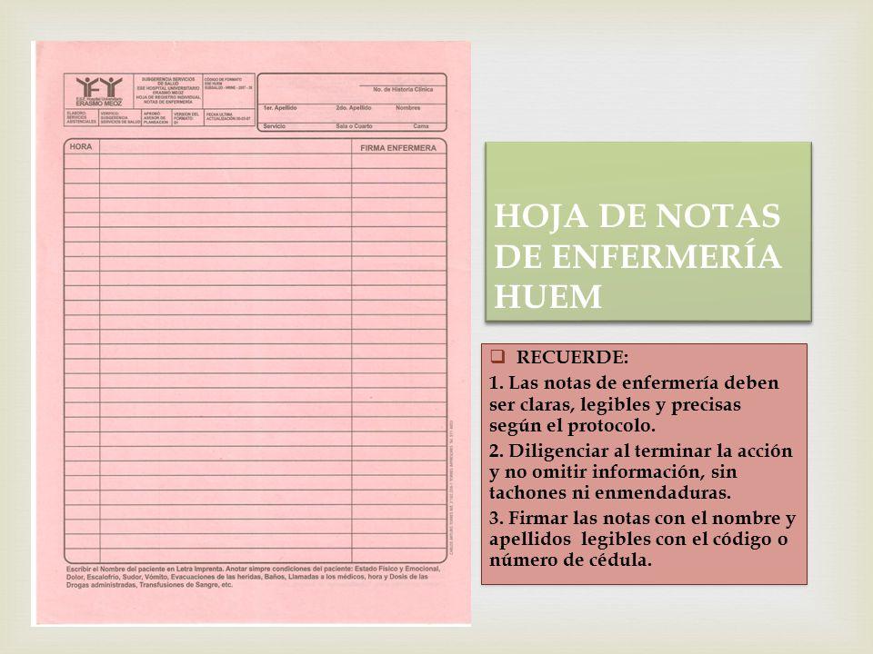 HOJA DE NOTAS DE ENFERMERÍA HUEM