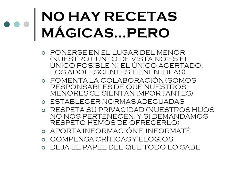NO HAY RECETAS MÁGICAS…PERO