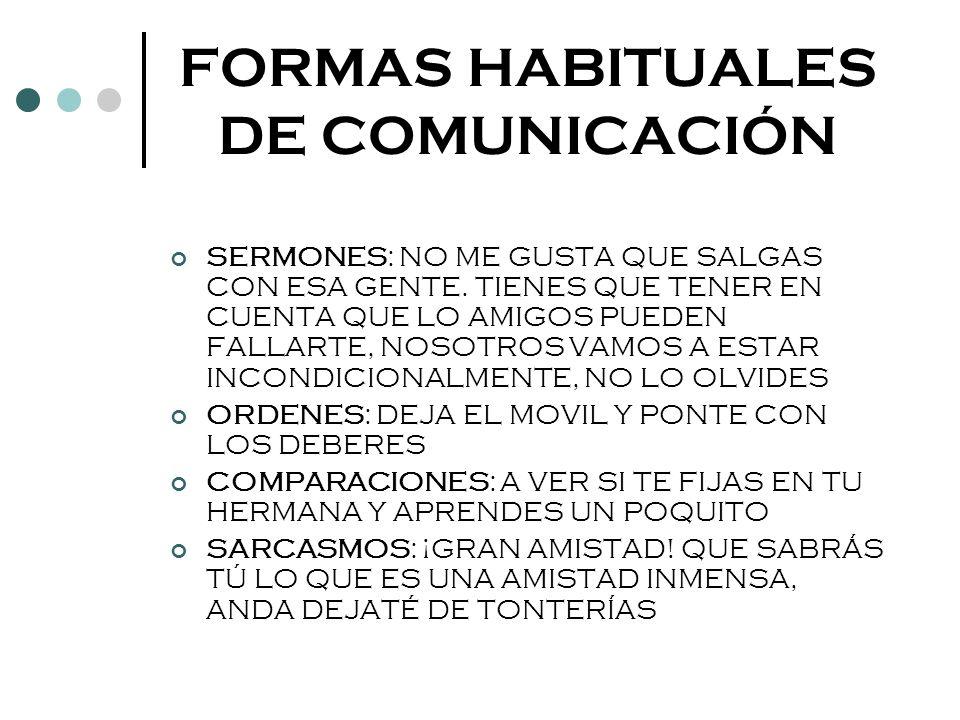 FORMAS HABITUALES DE COMUNICACIÓN
