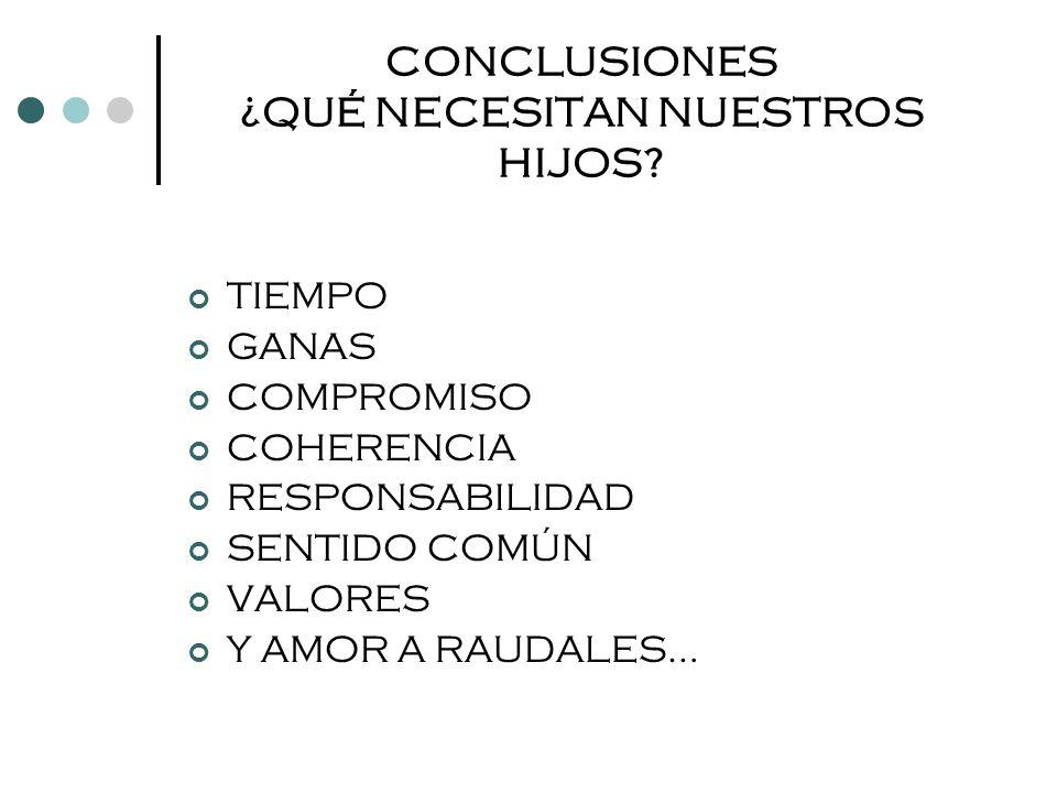 CONCLUSIONES ¿QUÉ NECESITAN NUESTROS HIJOS