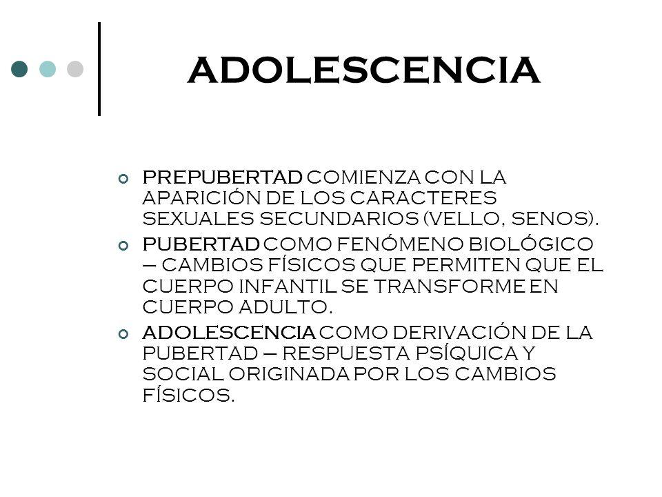 ADOLESCENCIA PREPUBERTAD COMIENZA CON LA APARICIÓN DE LOS CARACTERES SEXUALES SECUNDARIOS (VELLO, SENOS).