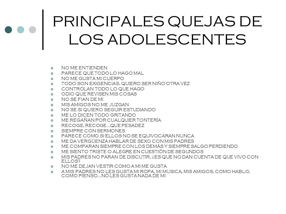 PRINCIPALES QUEJAS DE LOS ADOLESCENTES