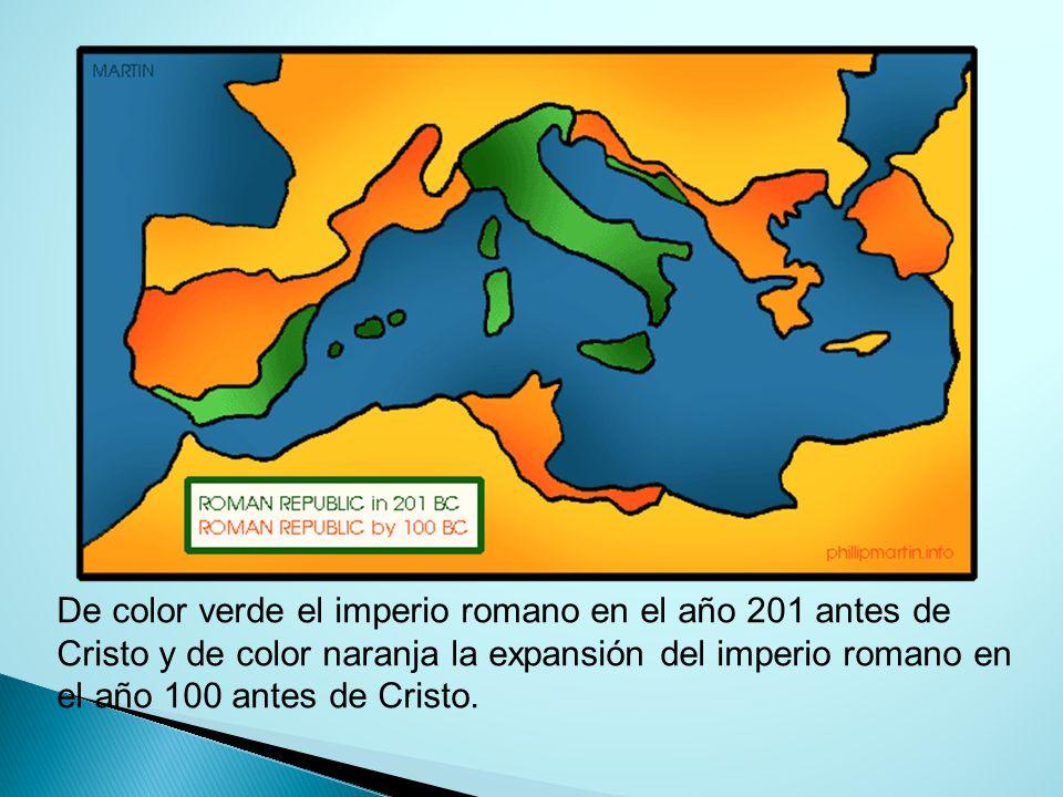 De color verde el imperio romano en el año 201 antes de Cristo y de color naranja la expansión del imperio romano en el año 100 antes de Cristo.
