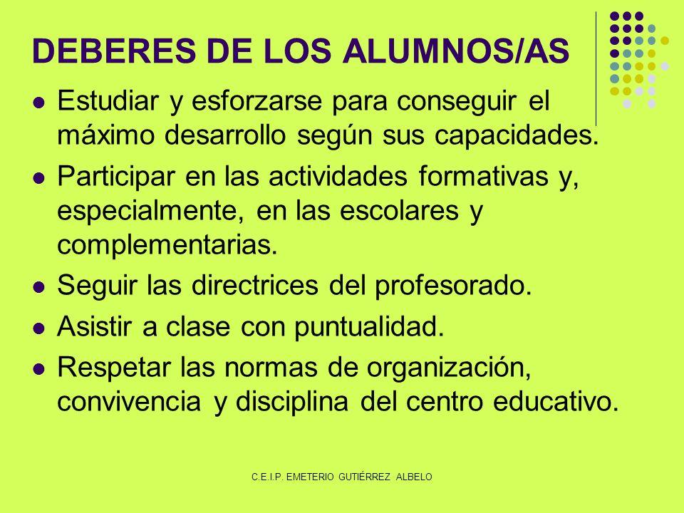 DEBERES DE LOS ALUMNOS/AS