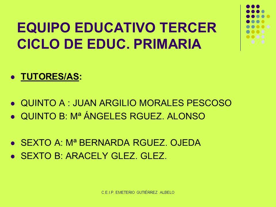 EQUIPO EDUCATIVO TERCER CICLO DE EDUC. PRIMARIA