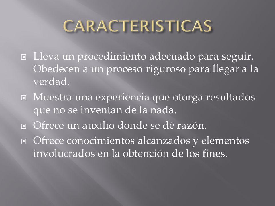 CARACTERISTICAS Lleva un procedimiento adecuado para seguir. Obedecen a un proceso riguroso para llegar a la verdad.