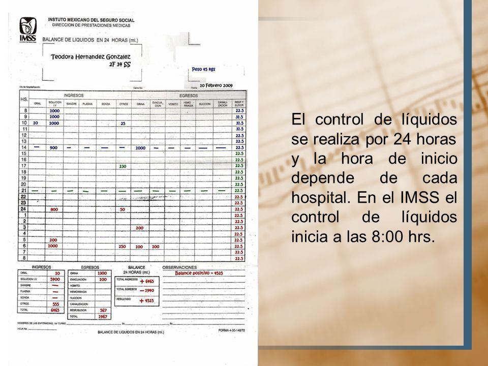 El control de líquidos se realiza por 24 horas
