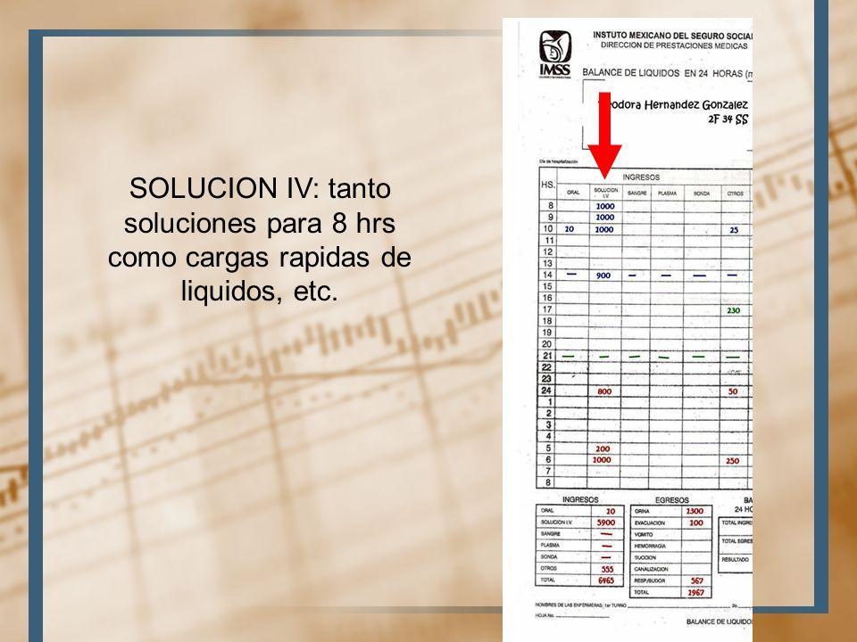 SOLUCION IV: tanto soluciones para 8 hrs como cargas rapidas de liquidos, etc.