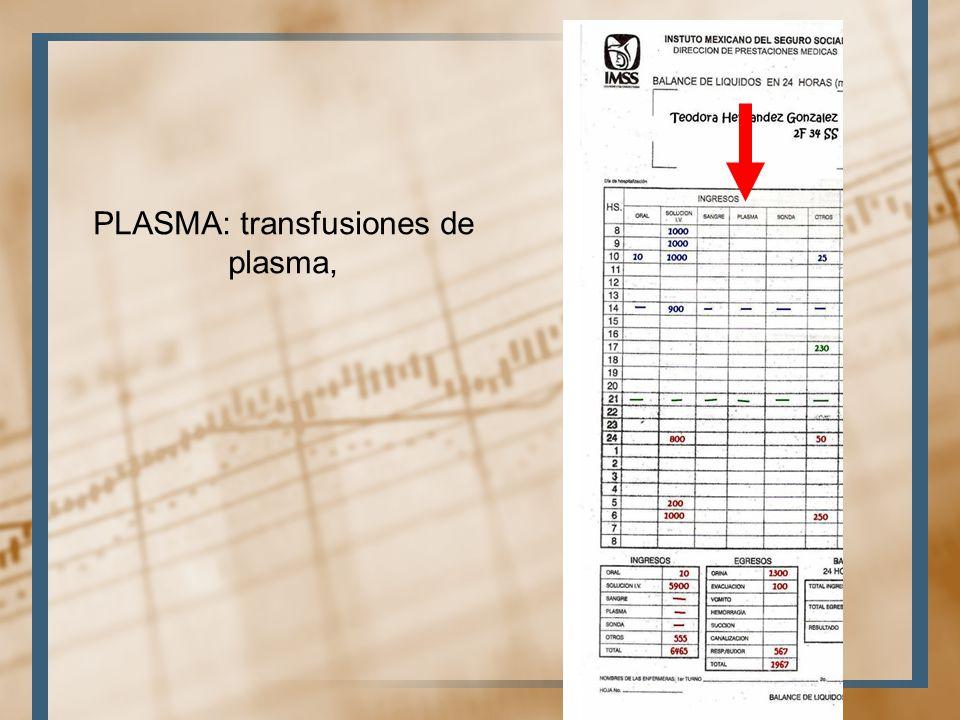 PLASMA: transfusiones de plasma,