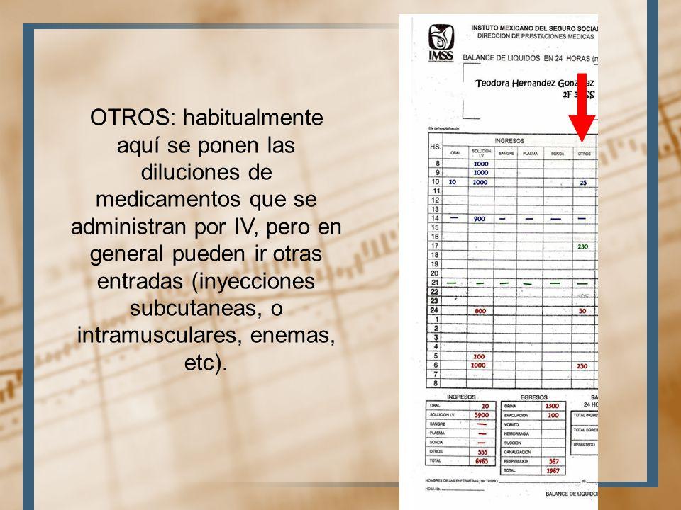 OTROS: habitualmente aquí se ponen las diluciones de medicamentos que se administran por IV, pero en general pueden ir otras entradas (inyecciones subcutaneas, o intramusculares, enemas, etc).