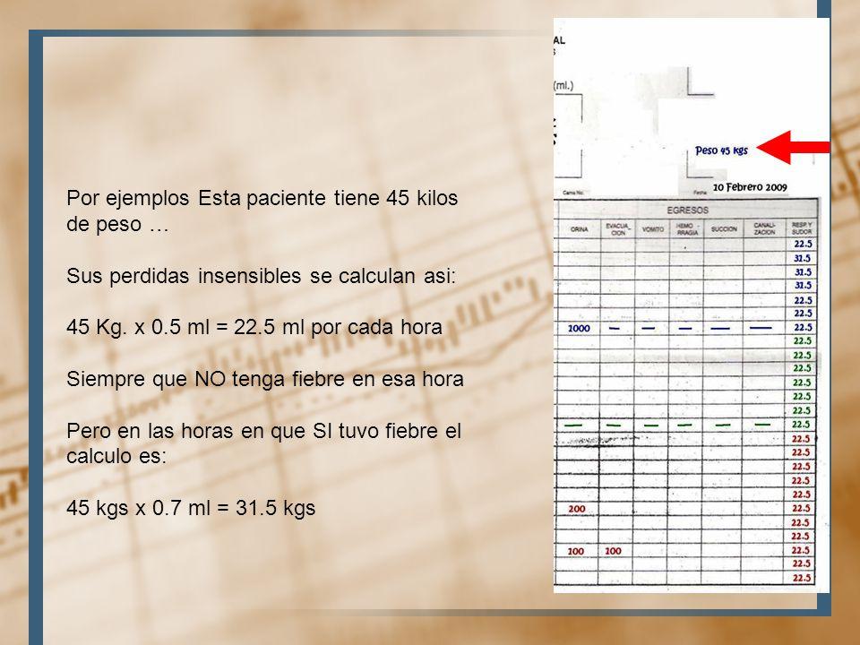 Por ejemplos Esta paciente tiene 45 kilos de peso …
