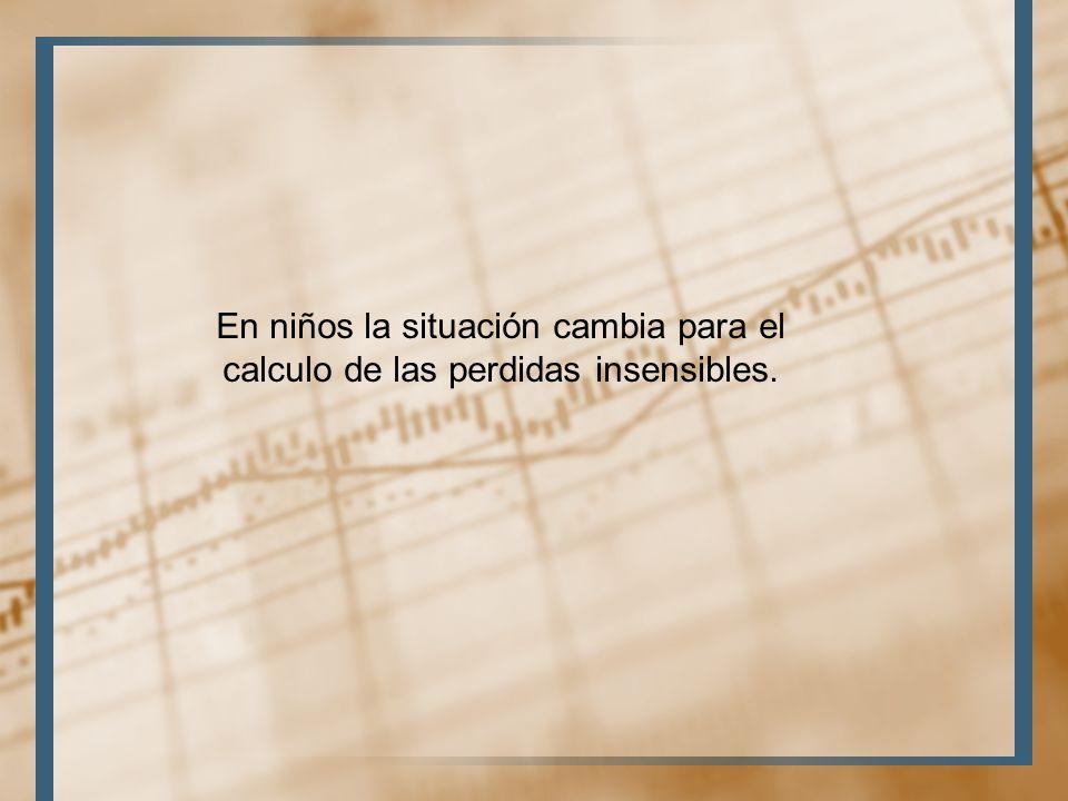 En niños la situación cambia para el calculo de las perdidas insensibles.