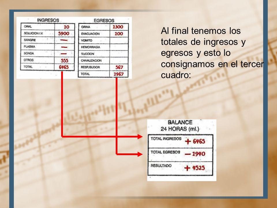 Al final tenemos los totales de ingresos y egresos y esto lo consignamos en el tercer cuadro:
