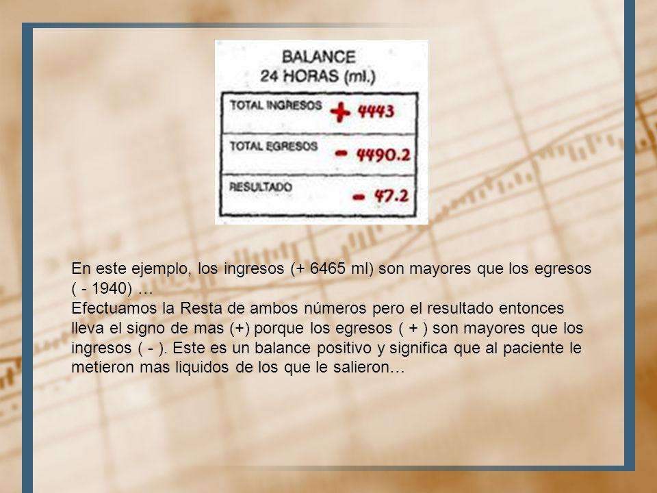En este ejemplo, los ingresos (+ 6465 ml) son mayores que los egresos ( - 1940) …