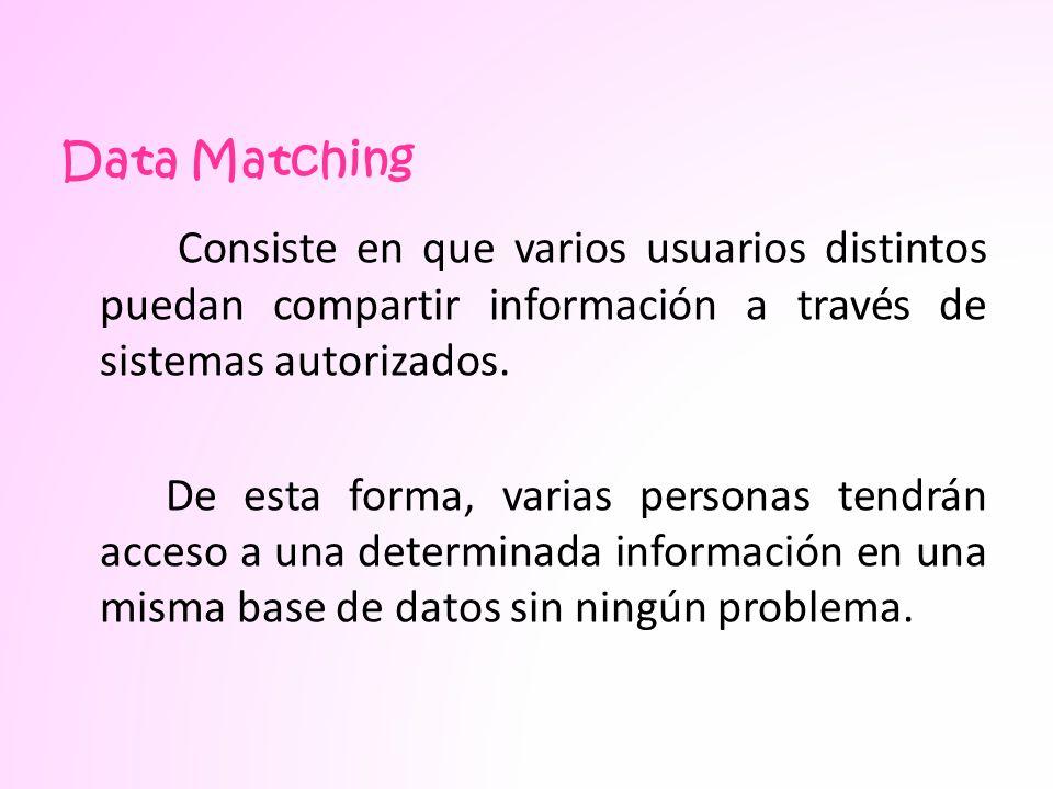 Data Matching Consiste en que varios usuarios distintos puedan compartir información a través de sistemas autorizados.
