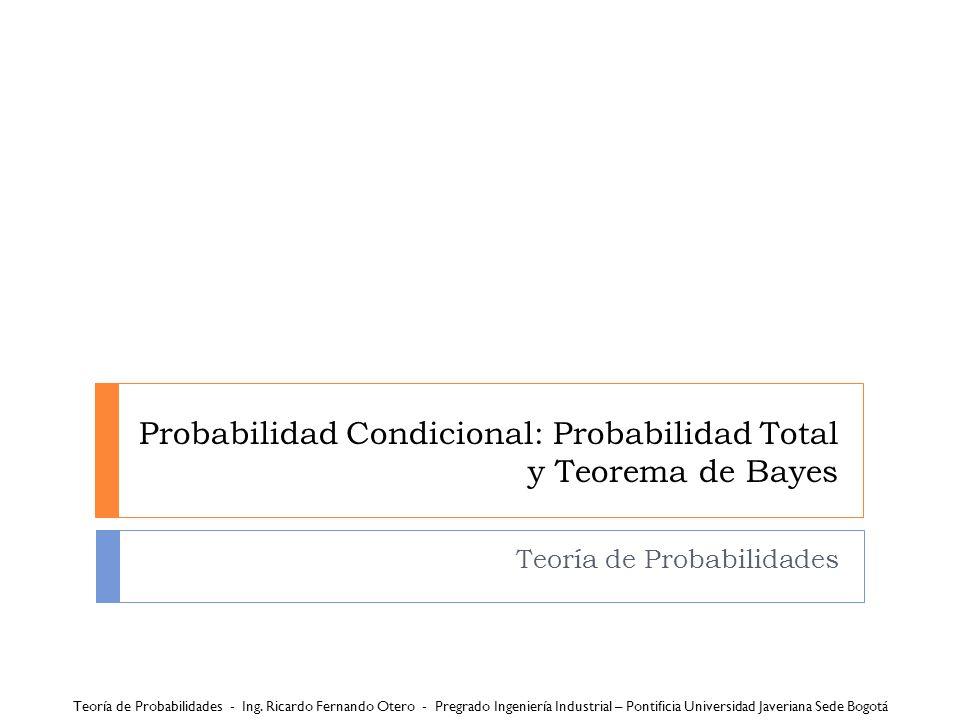 Probabilidad Condicional: Probabilidad Total y Teorema de Bayes