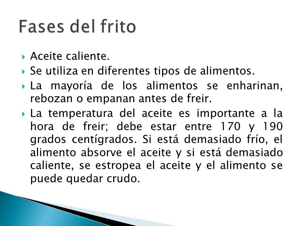 Fases del frito Aceite caliente.