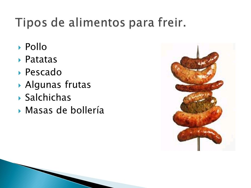 Tipos de alimentos para freir.