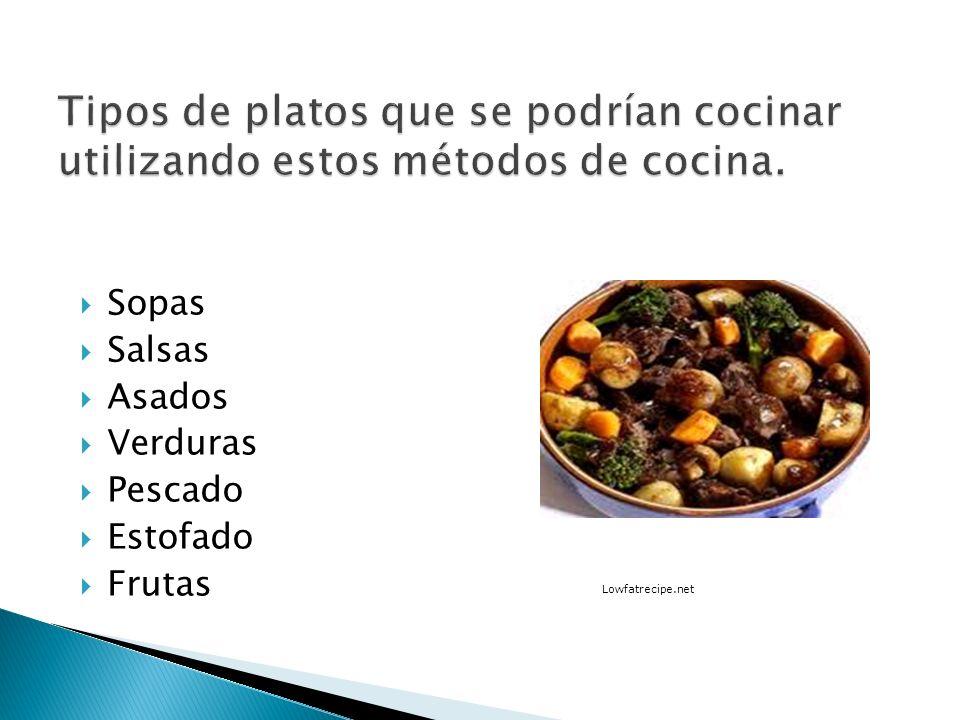 Tipos de platos que se podrían cocinar utilizando estos métodos de cocina.