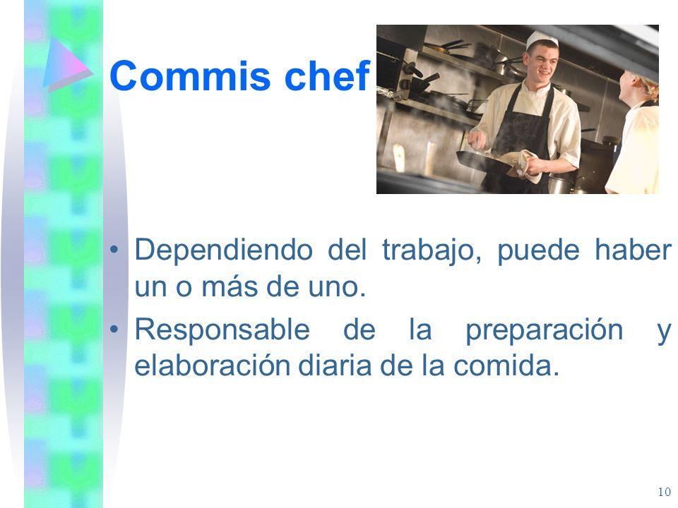 Commis chef Dependiendo del trabajo, puede haber un o más de uno.