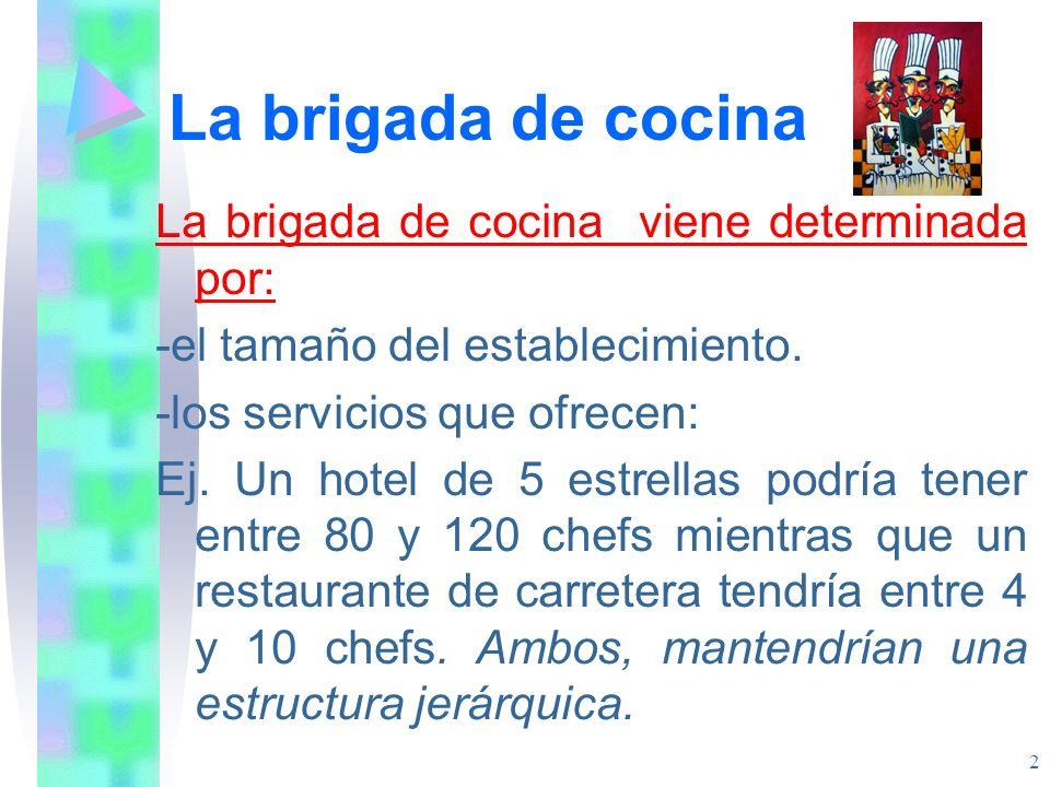La brigada de cocina La brigada de cocina viene determinada por: