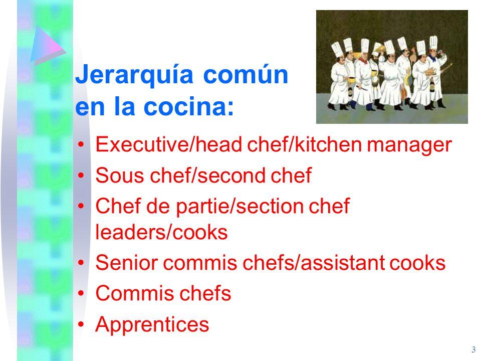 Jerarquía común en la cocina: