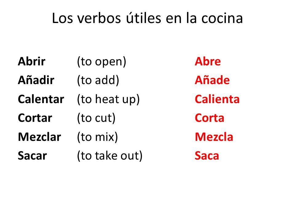 Los verbos útiles en la cocina