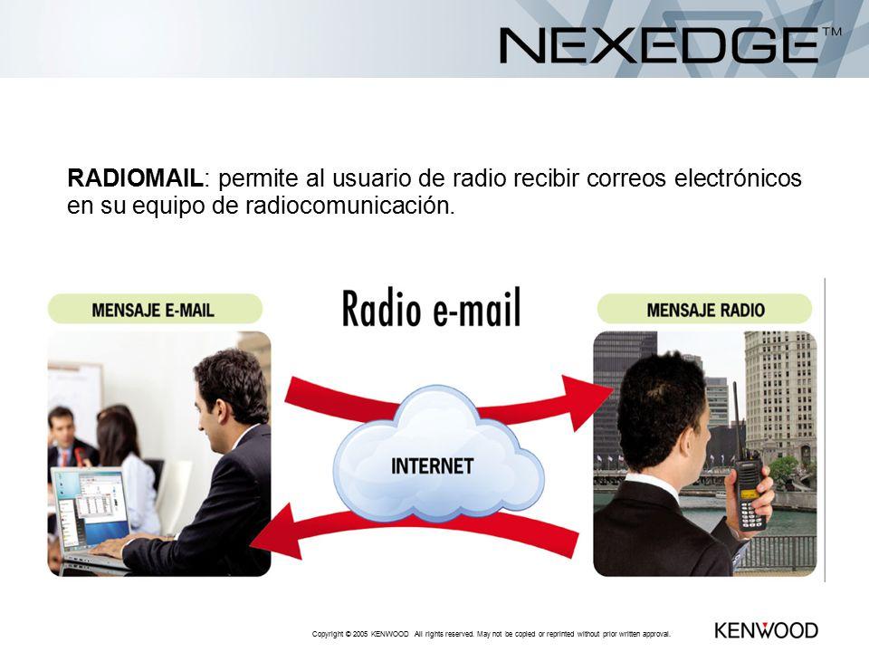 RADIOMAIL: permite al usuario de radio recibir correos electrónicos en su equipo de radiocomunicación.