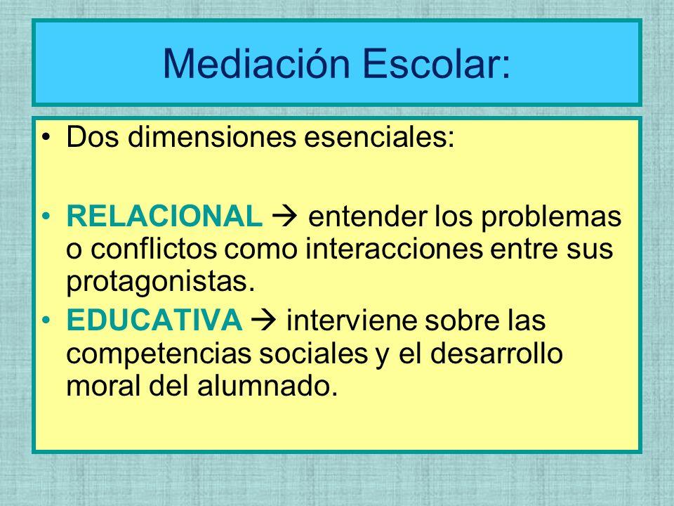 Mediación Escolar: Dos dimensiones esenciales: