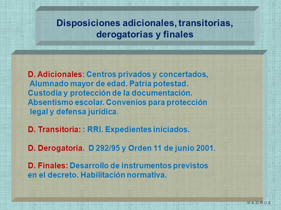 Disposiciones adicionales, transitorias, derogatorias y finales