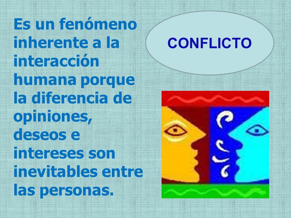 CONFLICTO Es un fenómeno inherente a la interacción humana porque la diferencia de opiniones, deseos e intereses son inevitables entre las personas.