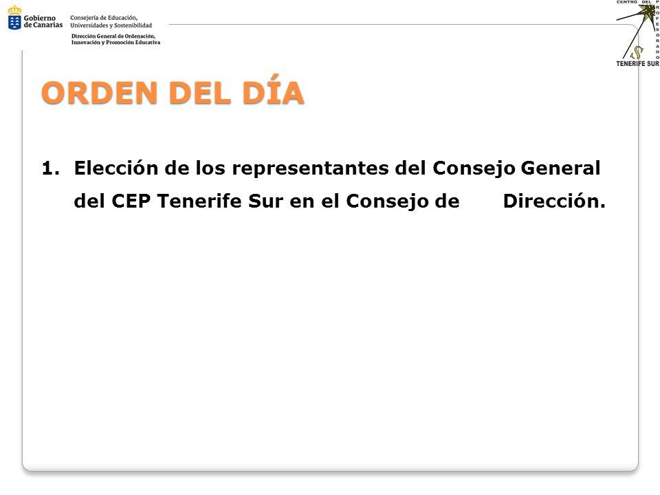 ORDEN DEL DÍA Elección de los representantes del Consejo General