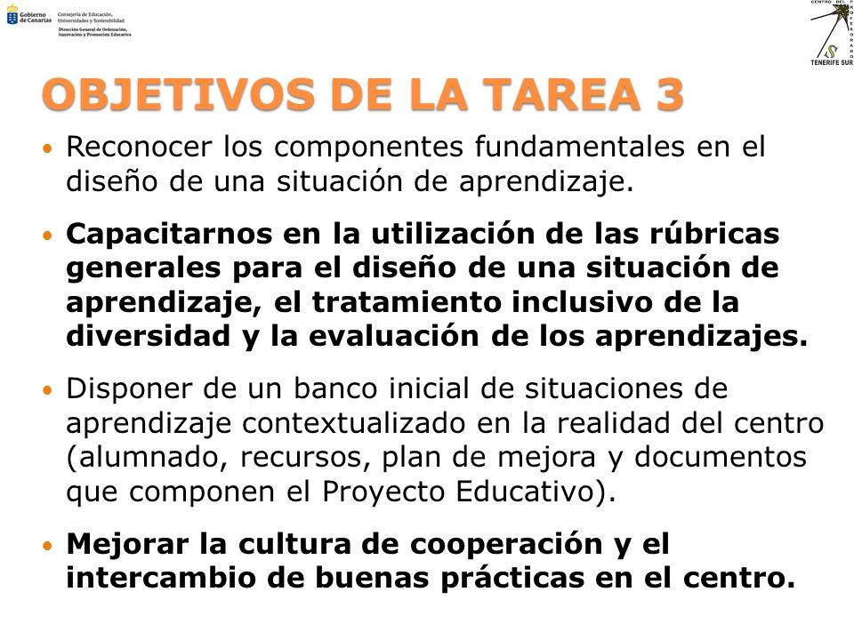 OBJETIVOS DE LA TAREA 3 Reconocer los componentes fundamentales en el diseño de una situación de aprendizaje.