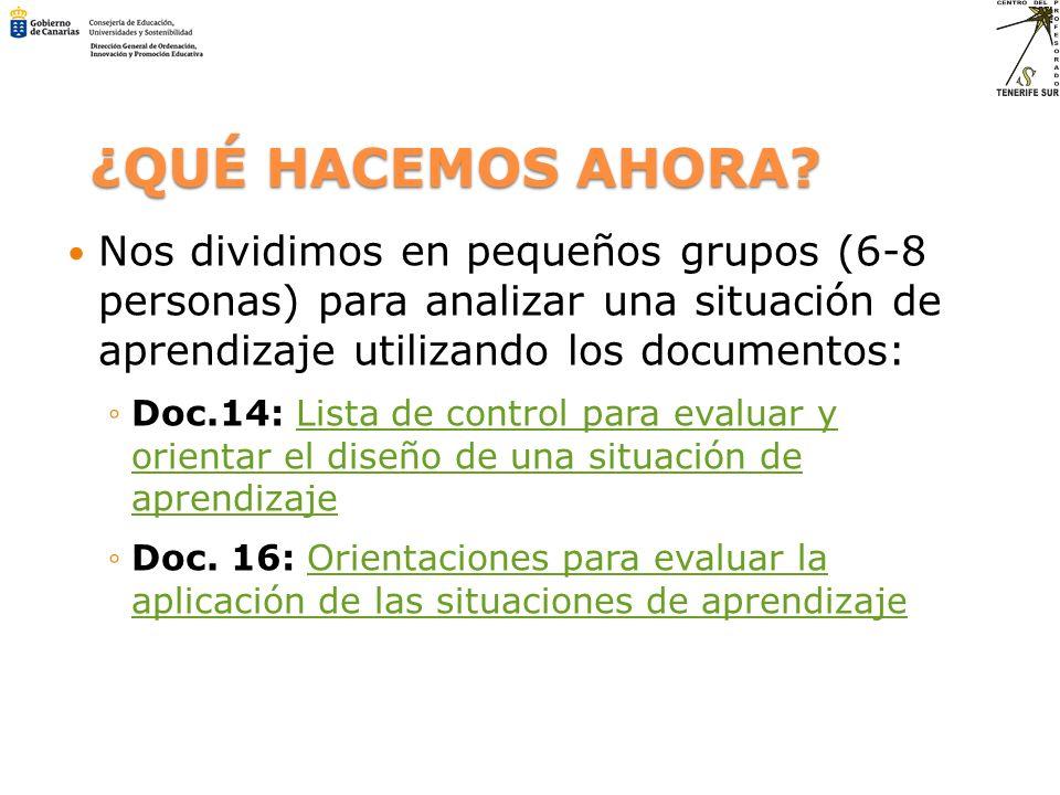 ¿QUÉ HACEMOS AHORA Nos dividimos en pequeños grupos (6-8 personas) para analizar una situación de aprendizaje utilizando los documentos: