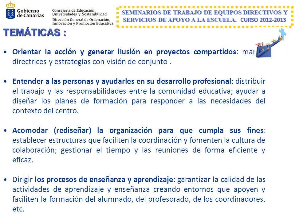 SEMINARIOS DE TRABAJO DE EQUIPOS DIRECTIVOS Y SERVICIOS DE APOYO A LA ESCUELA. CURSO 2012-2013