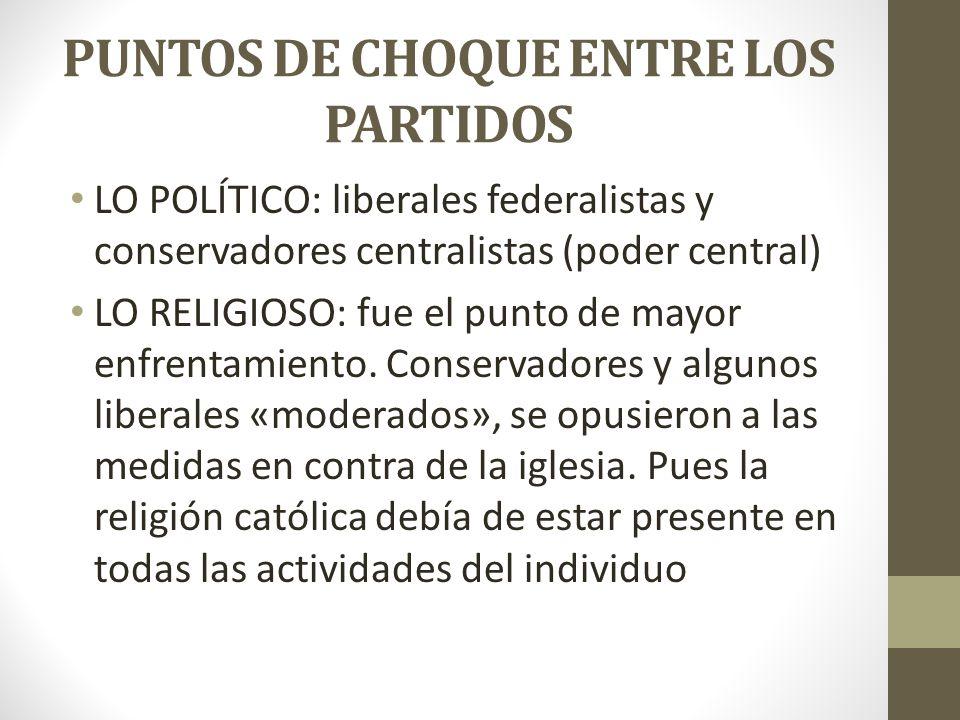 PUNTOS DE CHOQUE ENTRE LOS PARTIDOS