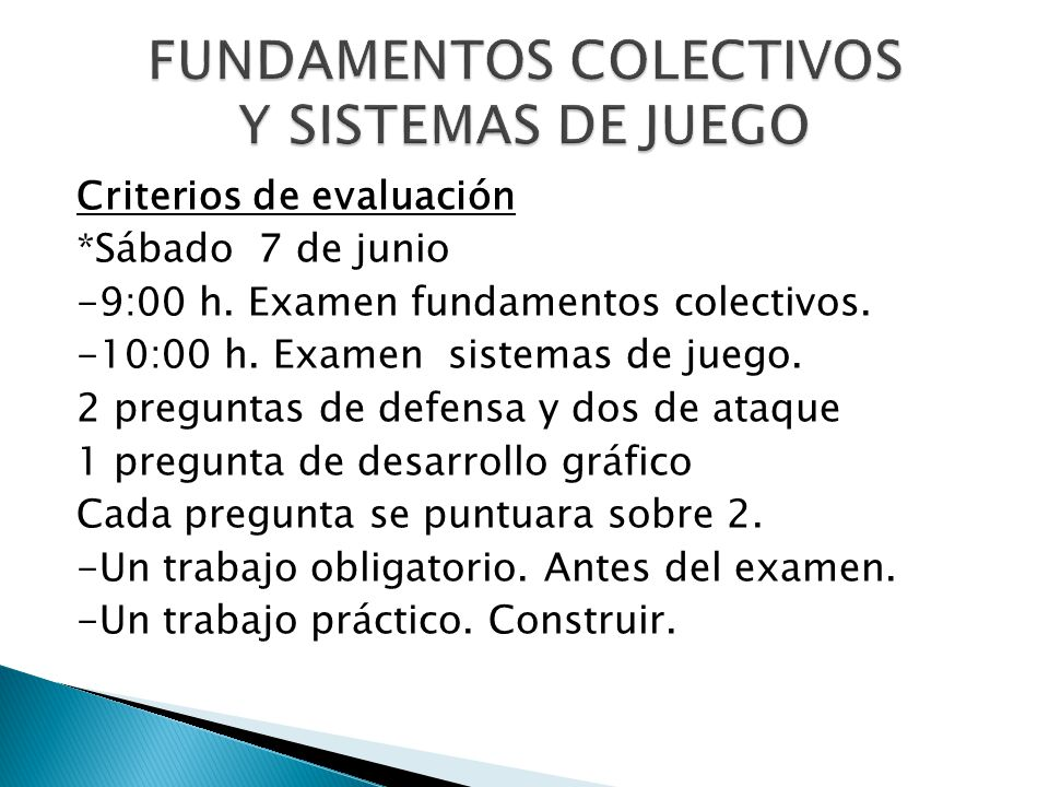 FUNDAMENTOS COLECTIVOS Y SISTEMAS DE JUEGO