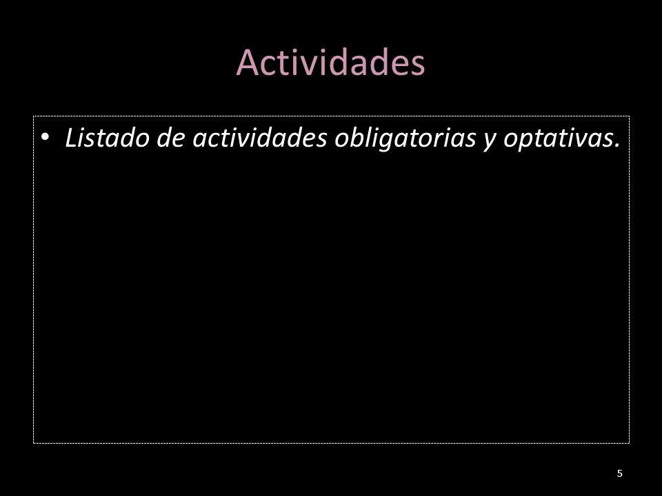 Actividades Listado de actividades obligatorias y optativas.