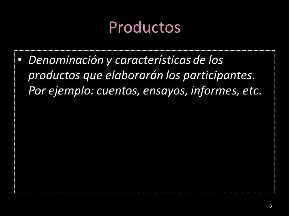 Productos Denominación y características de los productos que elaborarán los participantes.