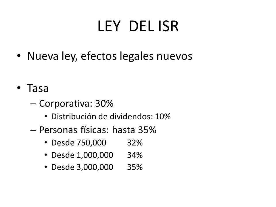 LEY DEL ISR Nueva ley, efectos legales nuevos Tasa Corporativa: 30%