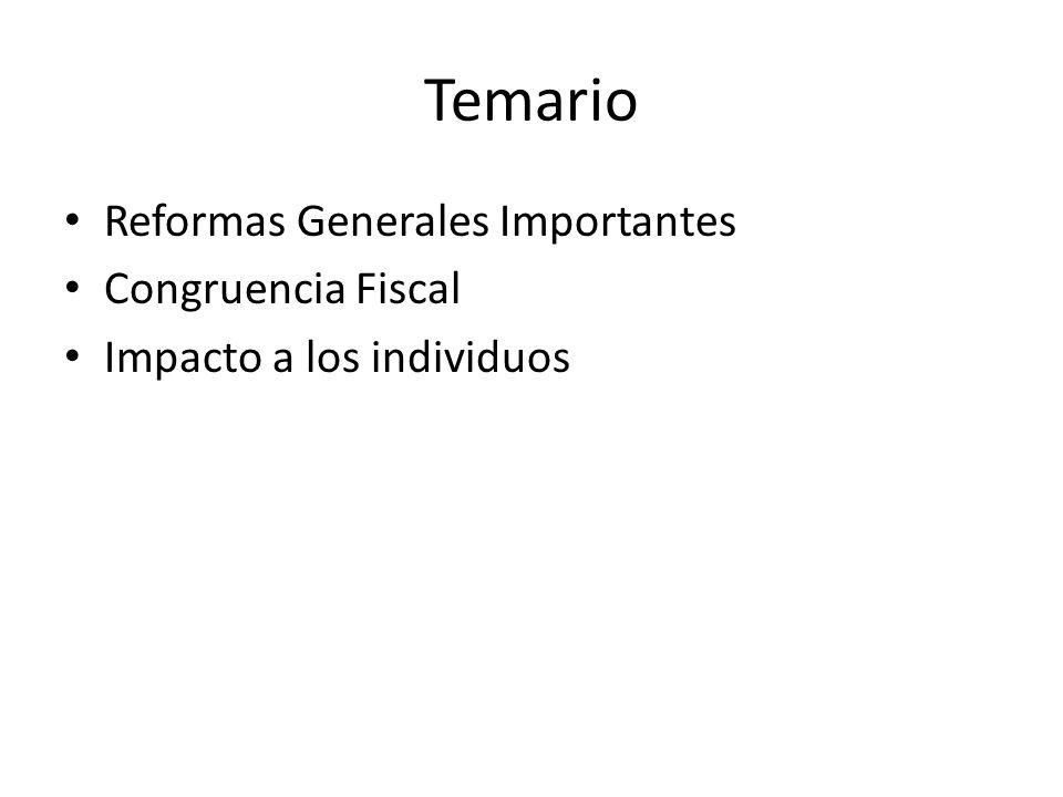 Temario Reformas Generales Importantes Congruencia Fiscal