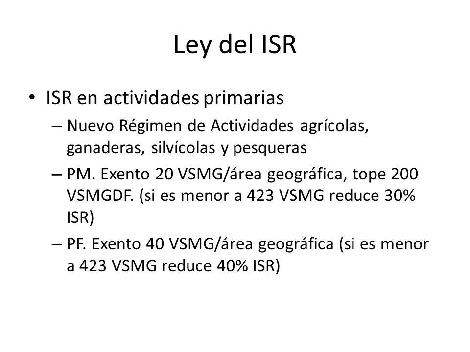 Ley del ISR ISR en actividades primarias