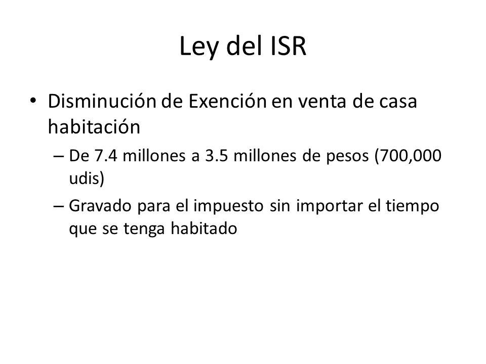 Ley del ISR Disminución de Exención en venta de casa habitación
