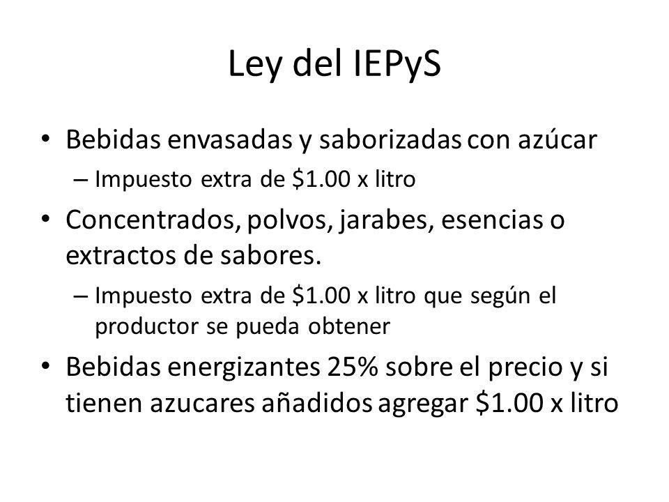 Ley del IEPyS Bebidas envasadas y saborizadas con azúcar